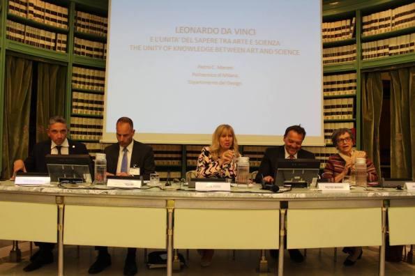 emilio petrini mansi con i relatori colonnello Crimi, Katia Ferri Melzi d'Eril, prof Pietro Marani prof ssa Anna Maria Mazziotti di Celso