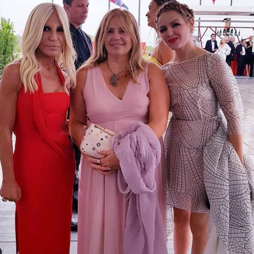 Katia Ferri Melzi d'Eril con Donatella Versace